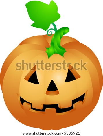 Halloween pumpkin .  an illustration of a halloween pumpkin with a face sculpted in it