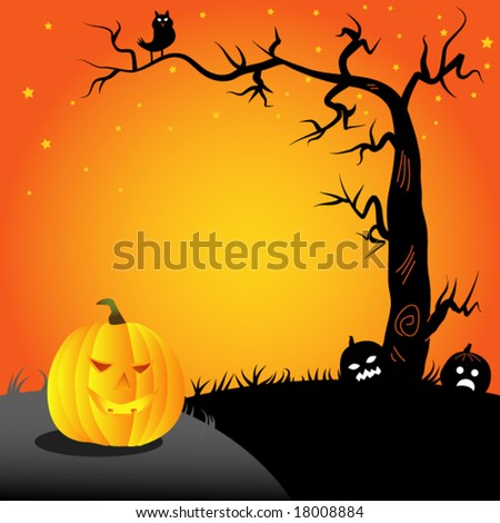 halloween- pumpkin and an owl on a tree