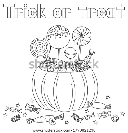 Halloween pumpkin and candies doodle coloring book page. Antistraess for adult and children's. vector illustration