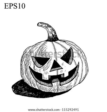 Halloween pumpkin and Hat drawing line