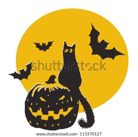 Halloween pumpkin, black cat, bats and moon