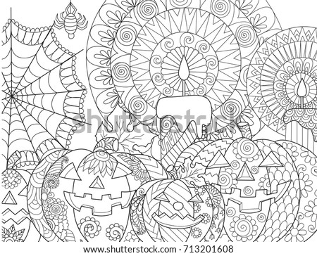 Halloween pumpkin,candles,spider,cobweb for adult coloring book page and design element. Vector illustration