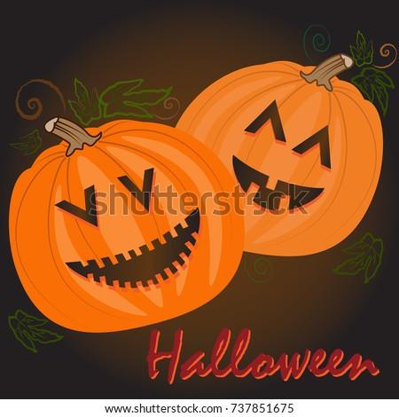 halloween pumpkin faces in dark