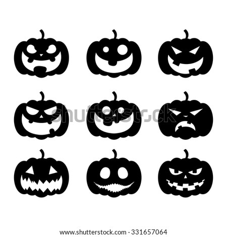 Halloween Pumpkin Faces Vector Illustration