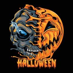 Halloween pumpkin half skull, looks spooky and cool. editable layers vector artwork