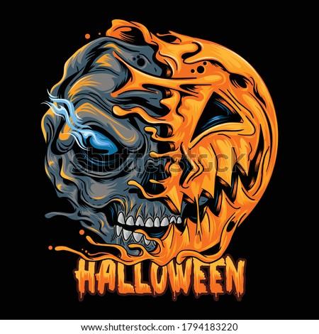 halloween pumpkin half skull