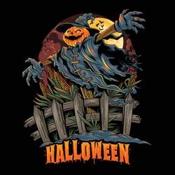 Halloween pumpkin-headed scarecrow, looks spooky and colorful. editable layers vector artwork