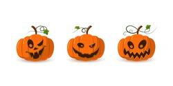Halloween pumpkin icon 3D set. Autumn symbol. Cartoon horror design. Halloween scary pumpkin face, smile. Orange squash silhouette isolated white background. Harvest celebration. Vector llustration