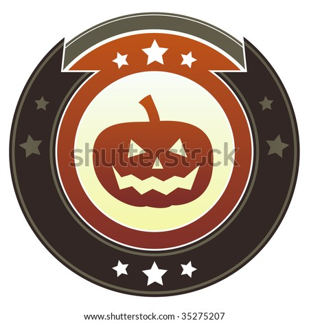 Halloween pumpkin icon on round red and brown imperial vector button with star accents suitable for use on website, in print and promotional materials, and for advertising.