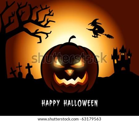 Halloween Pumpkin in a Creepy Scenery