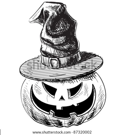 Halloween pumpkin in magic witch hat with evil scary smile for Funny pumpkin drawings