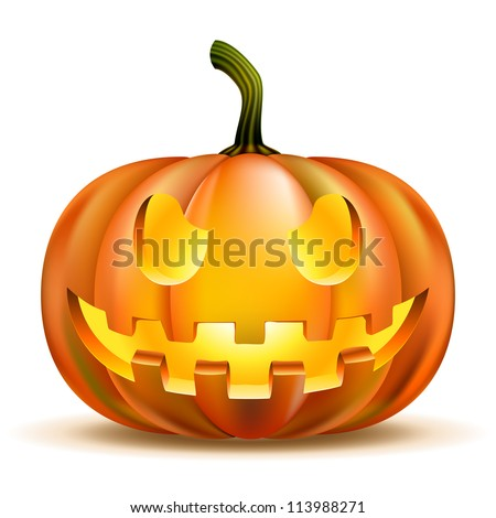 Halloween Pumpkin isolated on white. Scary Jack. Vector illustration - stock vector