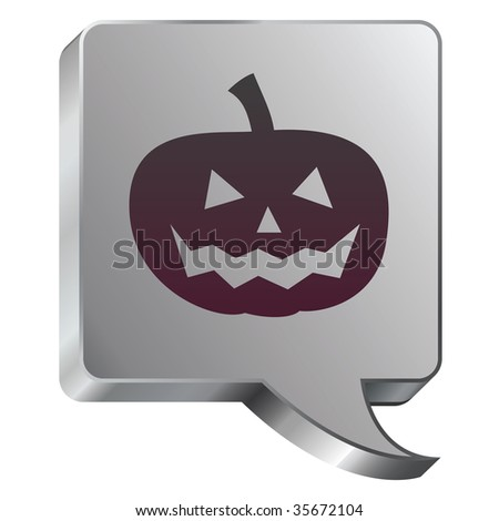 Halloween pumpkin Jack-o-lantern icon on stainless steel modern industrial voice bubble icon suitable for use as a website accent, on promotional materials, or in advertisements. - stock vector
