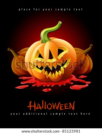 halloween pumpkin jack-o-lantern with angry face in red blood vector illustration isolated on black background - stock vector