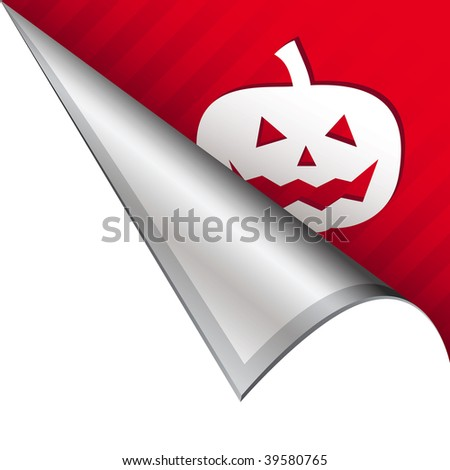 Halloween pumpkin or jack o lantern icon on vector peeled corner tab suitable for use in print, on websites, or in advertising materials.