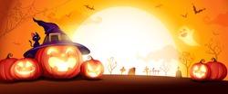 Halloween pumpkin patch in the moonlight. Jack O Lantern party. Horizontal banner.