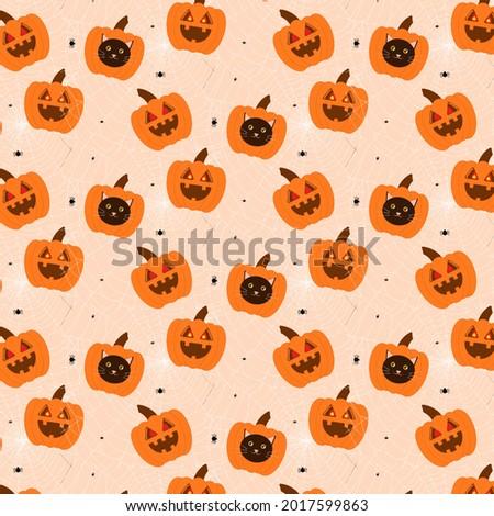 halloween pumpkin pattern  cat