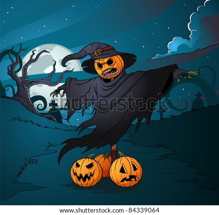 Halloween pumpkin scarecrow standing on a graveyard. Vector illustration with simple gradients. The elements are placed on five separate layers for easy editing.