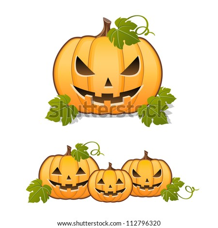Halloween pumpkin, set of Jack-o-lantern on white background