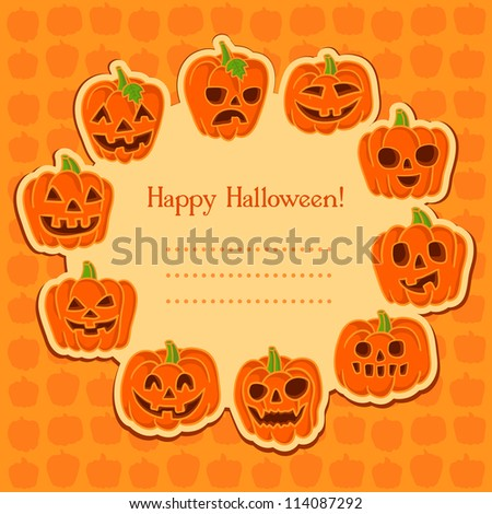 Halloween pumpkin set. Set of Vector Halloween Design Elements. Halloween. Vector illustration. Halloween stickers. Cute Halloween party card with space for text