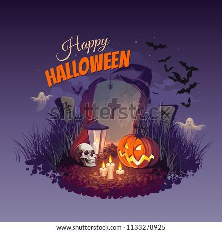 Halloween pumpkin, skull, ghosts, bats and tombstone on night sky background, illustration.