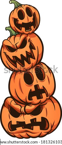 Halloween pumpkin stack with different expressions. Vector clip art illustration. All on a single layer.