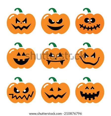 halloween pumpkin vector icons