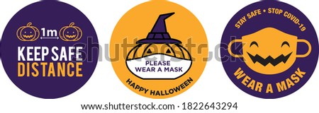 Halloween pumpkin wear face mask signage
