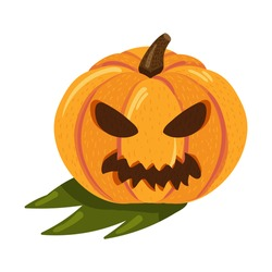 Halloween pumpkin with angry face for autumn holiday celebration. Evil and scary face silhouette for seasonal party or web element. Cartoon vector illustration