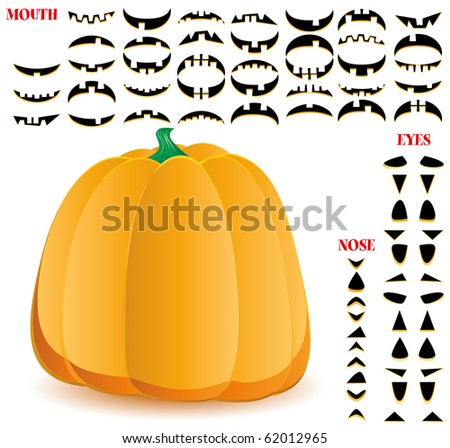 Halloween pumpkin with big set of mouths, eyes and noses for Jack O`Lantern face, part 11, vector illustration