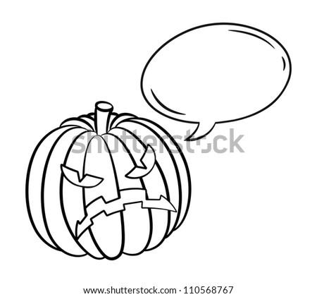 Halloween pumpkin with bubble speech