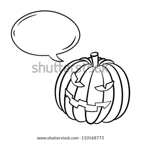 Halloween pumpkin with bubble speech