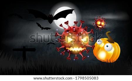 Halloween pumpkin with covid or coronavirus on background. Vector illustration design. stock photo