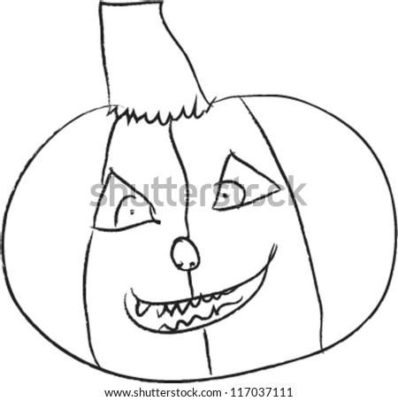 Halloween pumpkin with smile in funny hand drawing doodle sketch style - vector