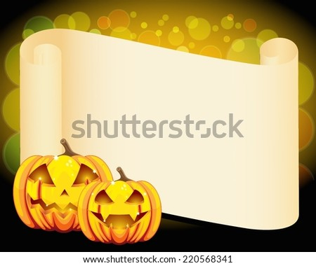 Halloween pumpkins and blank wish scroll
