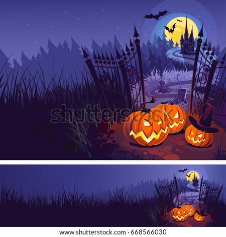 halloween pumpkins and dark