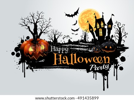 Halloween pumpkins and dark castle on full Moon background,Happy Halloween message design illustration.
