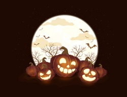 Halloween pumpkins and Moon on black night background. Holiday card with Jack O' Lanterns and bats. Illustration can be used for clothing design, children's holiday design, cards, invitations, banners