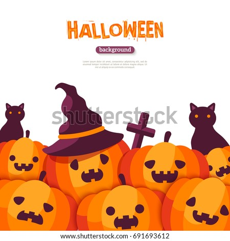 Halloween pumpkins border on white background. Vector illustration. Cross and black cat. Pumpkin in witch hat. Jack o lanterns