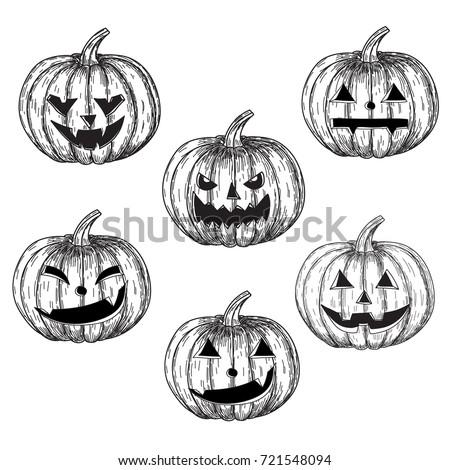 halloween pumpkins hand drawing