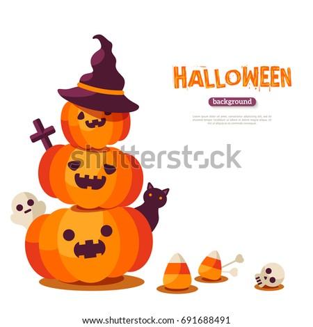 halloween pumpkins in witch hat