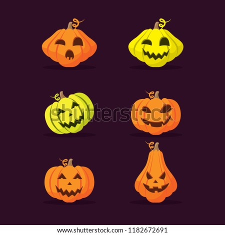 Halloween pumpkins mascot icon vector. With happy face on dark background. Set of halloween pumpkins, funny faces. Autumn holidays.