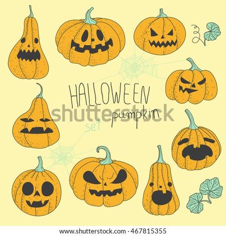 Halloween pumpkins set vector illustration. Hand drawn cartoon style.