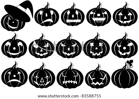 Halloween pumpkins silhouette isolated on white - stock vector