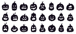 Halloween pumpkins silhouette. Scary spooky carving pumpkins, creepy smiling faces, autumn holiday horror decoration vector illustration set. Celebration smile autumn halloween