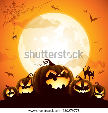 Halloween pumpkins under the moonlight