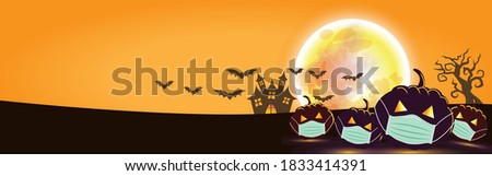 Halloween pumpkins Wearing a medical mask. and a big moon. on the Orange  background, for Web Banner Design, Banner background. Happy Halloween concept. During the COVID-19 outbreak control period.