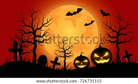Halloween pumpkins with orange Moon background.vector illustration.