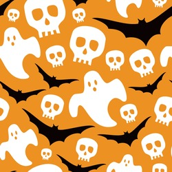 Halloween repeat pattern vector seamless with ghosts, bats and skulls on an orange background
