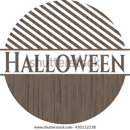 Halloween retro style wood emblem